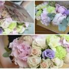 Flori: bujori, hortensia, eustoma, garoafe și miniroze; Preț: 246 lei.