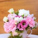 Flori: bujori, grezii, garoafe olandeze și eustoma; Preț: 148 de lei.